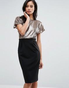 Платье-футляр с декорированным пайетками топом Paper Dolls Top - Черный