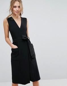Платье миди с V-образным вырезом и карманами Closet - Черный