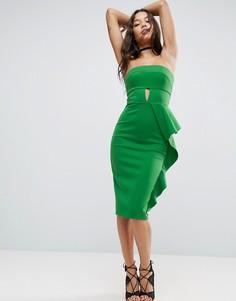 Платье-бандо миди с вырезом капелькой и оборками ASOS - Зеленый