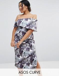 Платье миди на одно плечо с мраморным принтом ASOS CURVE - Мульти
