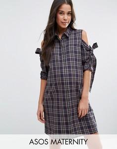 Платье-рубашка в клетку с бантами и вырезами на плечах ASOS Maternity - Мульти