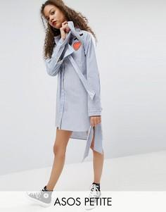 Платье-рубашка в полоску с широкими манжетами и нашивками ASOS PETITE - Мульти