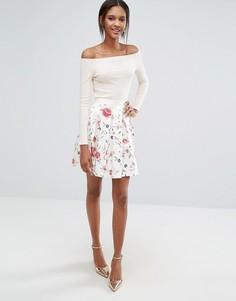 Юбка с цветочным принтом и складками Closet - Мульти