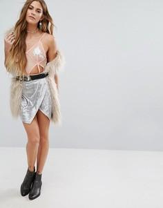 Замшевая мини-юбка металлик с запахом спереди Young Bohemians - Серебряный