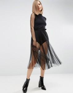 Полупрозрачная юбка миди из тюля ASOS - Мульти