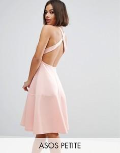 Платье миди с перекрестной спинкой ASOS PETITE - Бежевый