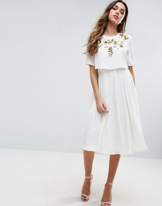 Декорированное приталенное платье миди с кроп-топом ASOS - Бежевый