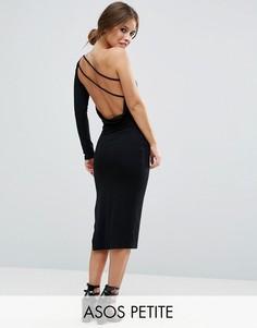 Платье миди на одно плечо с драпировкой на спине ASOS PETITE - Черный