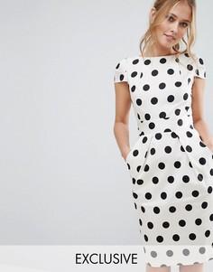 Платье миди в горошек Closet - Белый