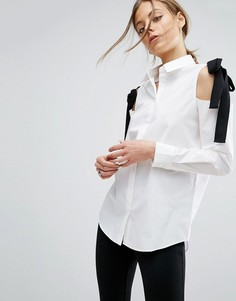 Хлопковая рубашка с вырезами на плечах и контрастными завязками ASOS - Белый