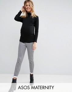 Суперузкие брюки в клеточку для беременных ASOS Maternity - Мульти