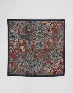 Шелковый платок для нагрудного кармана с принтом пейсли ASOS - Коричневый