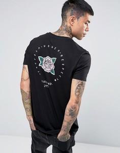 Длинная футболка с принтом розы сзади ASOS Oakland - Черный