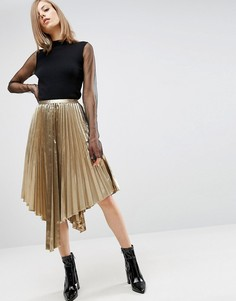 Плиссированная асимметричная юбка миди цвета металлик ASOS - Золотой