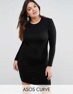 Облегающее платье мини с длинными рукавами ASOS CURVE - Черный
