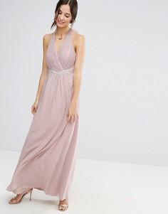 Платье макси с халтером и отделкой на талии Liquorish - Розовый