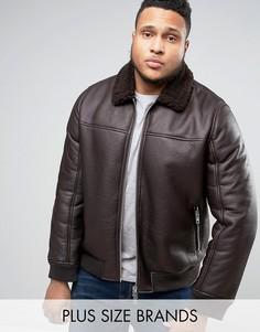 Куртка-пилот из искусственной кожи с меховым воротником Barneys PLUS - Коричневый Barneys Originals