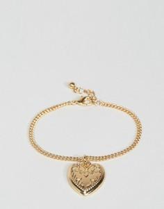 Браслет с медальоном в форме сердца ASOS - Золотой