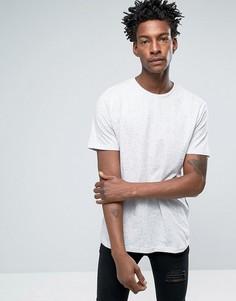 Белая длинная футболка с асимметричным краем Troy Nep - Белый