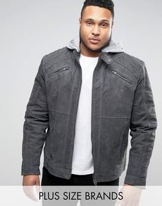 Замшевая байкерская куртка с трикотажным капюшоном Barneys PLUS Premium - Серый Barneys Originals