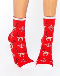 Новогодние носки с оленями 7X - Мульти