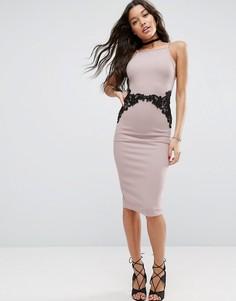 Фактурное платье-футляр с кружевом на талии ASOS - Розовый