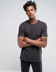 Длинная черная футболка в крапинку Troy - Черный