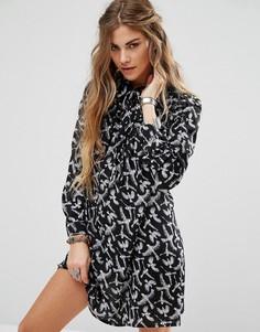 Платье-рубашка с принтом птиц Glamorous - Черный
