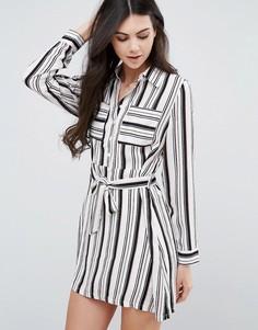 Платье-рубашка в полоску с поясом Love & Other Things - Мульти