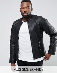 Байкерская куртка из искусственной кожи Barneys PLUS - Черный Barneys Originals
