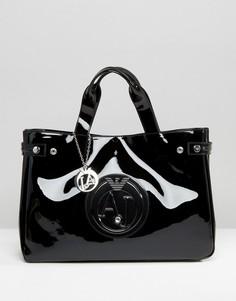 Черная лакированная сумка-тоут Armani Jeans - Черный