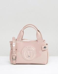 Розоватая лакированная сумка Armani Jeans - Бежевый
