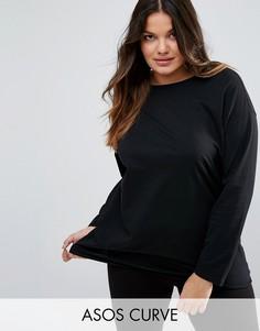 Oversize-футболка с длинными рукавами ASOS CURVE Ultimate - Черный