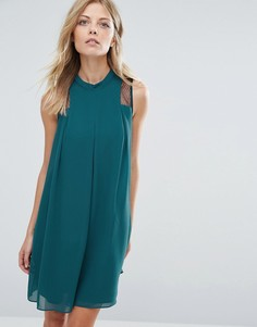 Свободное платье с полупрозрачной вставкой BCBG Generation - Зеленый