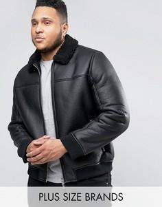 Куртка-пилот из искусственной кожи с меховым воротником Barneys PLUS - Черный Barneys Originals
