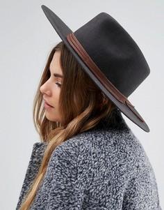 Мягкая фетровая шляпа с отделкой из натуральной кожи Brixton Drover - Черный