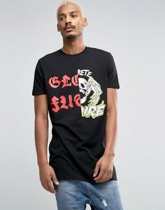 Длинная футболка с принтом ASOS - Черный