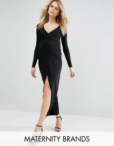 Платье макси для беременных с запахом Missguided - Черный