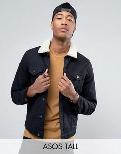 Черная джинсовая куртка с воротником из искусственного меха ASOS TALL - Черный