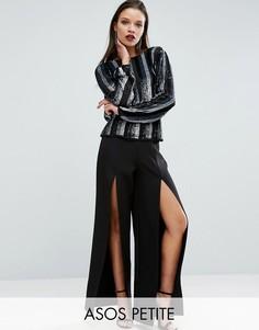 Широкие брюки с разрезами и завышенной талией ASOS PETITE - Черный