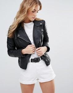 Приталенная кожаная куртка Muubaa - Черный