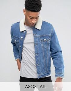 Выбеленная джинсовая куртка с воротником из искусственного меха ASOS TALL - Синий