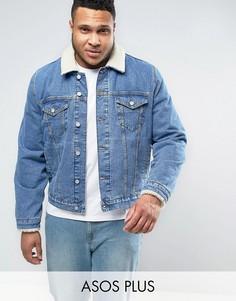 Джинсовая куртка с воротником из искусственного меха ASOS PLUS - Синий