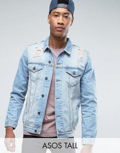 Выбеленная джинсовая куртка с рваной отделкой ASOS TALL - Синий