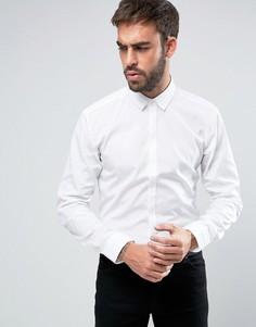 Зауженная рубашка с плиссированным воротником и скрытой планкой на пуговицах HUGO by Hugo Boss Esid - Белый