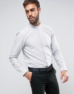 Оксфордская классическая рубашка без воротника HUGO by Hugo Boss Edoug - Серый