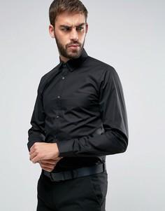 Эластичная рубашка слим с контрастной планкой на пуговицах HUGO by Hugo Boss Efin - Черный