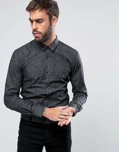 Узкая рубашка со змеиным принтом HUGO by Hugo Boss Ero 3 - Черный