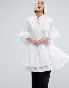 Oversize-рубашка с ярусной оборкой по краю ASOS WHITE - Белый
