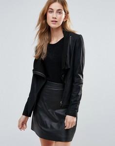 Кожаная куртка с запахом и высоким воротником Muubaa - Черный